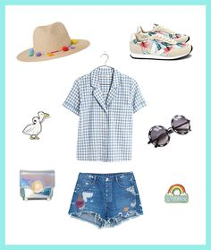 Pair your gingham shirt with jean shorts for a cute weekend look.