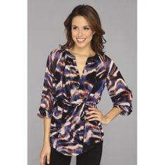 Calvin Klein - Peasant Top (Bittersweet/Celestial Multi) - Apparel #Women #clothing #shirtsTops #blouses #CalvinKlein