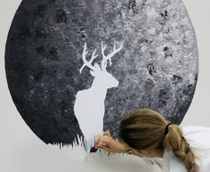 blend-into-wall-blog-crop Full Buck Moon, Wall Murals, Wall Art, Interior Paint Colors, Behr, Antlers, Wicca, Cement, Diy Home Decor