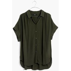 MADEWELL Central Drapey Shirt ($80) ❤ liked on Polyvore featuring tops, forest moss, madewell, oversized tops, viscose tops, viscose shirts and madewell shirt