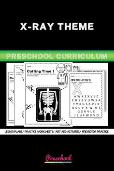 This X-ray Preschool packet is a wonderful way for your preschool or pre-k kids to work on basic literacy and math and fine motor skills. These no-prep printables are great for distance learning or in class centers and stations. Preschool Curriculum, Preschool Printables, Preschool Worksheets, Preschool Learning, Printable Worksheets, Homeschool, Teaching, Everything Preschool, My Themes