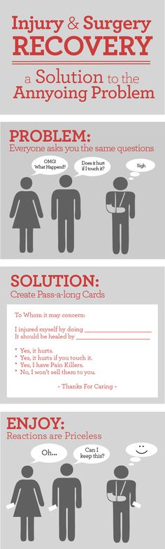 Injury pass-a-long cards.  Good idea when people ask you what happend if you get hurt or have surgery.