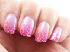 gradient + glitter nails