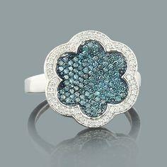 White Blue Diamond Flower Ring 0.60ct 14K Gold