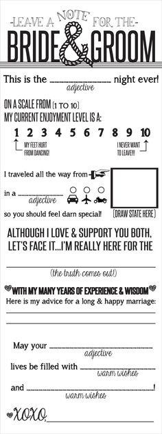 Wedding Note to Bride Groom Printable File by Cre8tivWedding, $12.00