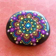 Mandala Stone Hand Painted Snowflake Jewel in by ChelseyLakeArt