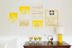 Yellow Gallery Wall in a sweet nursery!