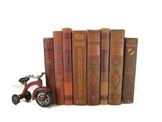 Brown Brick Vintage Books , Antique Book Bundle ,  Decorative Books , Wedding Prop , Photo Prop ,  Vintage Books , Old Books