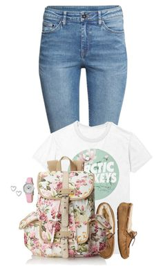"""""""Flower Child // School Outfit"""" by rashana ❤ liked on Polyvore featuring H&M, UGG Australia, Wild Pair and Stührling"""