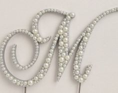 Curly Pearl Monogram Cake Topper Font 2 High by LeandraNDesigns