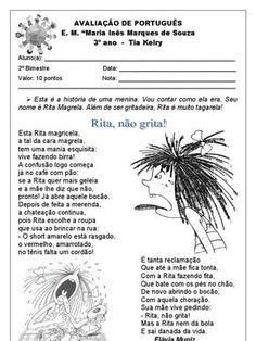 Texto: Rita, não grita!; Leitura e Interpretação; Substantivos; Uso do por que e porque; Artigos
