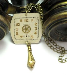 Vintage Waltham watch dial necklace by Mystic Pieces #steampunk #jewelry #etsy #mysticpieces