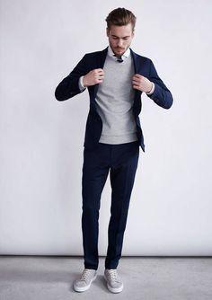 Tolles Businessoutfit mit klassischem Pullover kombiniert