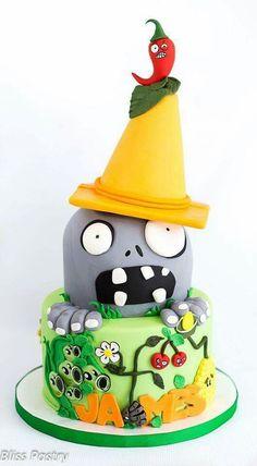 Zombie Zombie Birthday Parties, Zombie Party, 5th Birthday, Birthday Ideas, Plants Vs Zombies, Plant Zombie, Plant Vs Zombie Cake, Glitter Birthday, Halloween Cakes