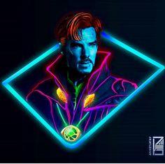 Neon Dr. Strange by Aniketjatav