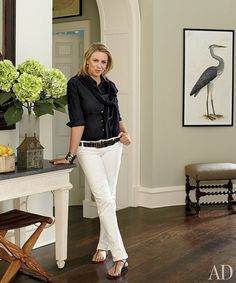 Designer Victoria Hagan in the entrance hall of her family's Connecticut house.