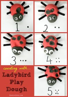 Play Dough Ladybirds fantastic for learning to count, number recognition and… Insect Activities, Eyfs Activities, Nursery Activities, Playdough Activities, Spring Activities, Preschool Activities, What The Ladybird Heard Activities, Minibeasts Eyfs, Grouchy Ladybug