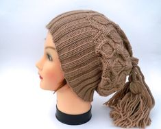 Hat And Cowl Combo  Nutmeg Slouchy Beanie Made by BettyMarieJones