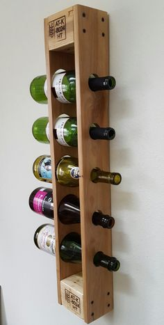 Reclaimed Pallet Wine Rack. Wall Mounted Vertical Wine Rack.
