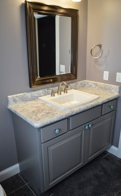 Madura Pearl Laminate Countertops Grey Cabinets Bathroom