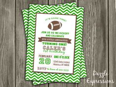 Printable Football Birthday Invitation | Modern Boy Birthday Party Idea | Green Chevron | Super Bowl | Sports Party | FREE thank you card included | Become a loyal fan on Facebook to receive freebies and see the latest designs! www.facebook.com/DazzleExpressions