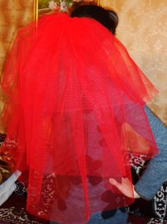 Bachelorette party Veil 3-tier red, long length. Bride veil, accessory, bachelorette veil