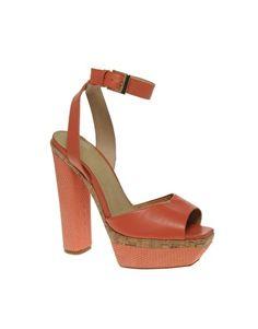 ASOS HARPER Leather Platform Heeled Sandals with Snake Effect