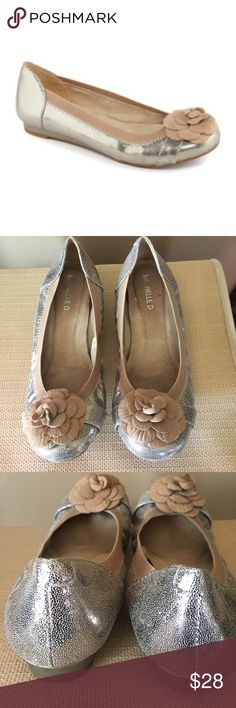 Michelle D flower ballet flats Excellent condition. Look new. We're worn one time in the house. MICHELLE D Shoes Flats & Loafers