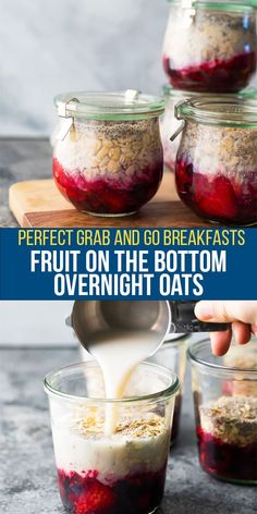Inspired by my childhood obsession, these fruit on the bottom overnight oats have a fruity surprise under a layer of creamy oatmeal. Just 5 simple ingredients and 10 minutes to prepare, making these perfect for meal prep day! #sweetpeasandsaffron #mealprep #breakfast #vegan #glutenfree #oatmeal Gluten Free Recipes For Breakfast, Brunch Recipes, Snack Recipes, Brunch Dishes, Breakfast Options, Vegetarian Breakfast, Breakfast Dessert, Oatmeal Recipes, Brunch Ideas