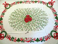 Vintage Christmas Tablecloth 53 x 67 by ThriftStoreAddiction