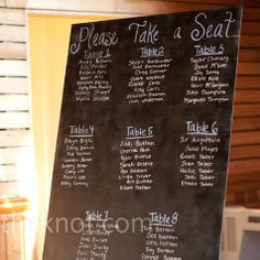 Chalkboard Seating Chart...The couple spray-painted plywood with chalkboard paint and wrote out guests' names and table numbers.