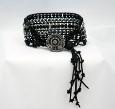 Steampunk Bracelet Goth Bracelet Black by LLDArtisticJewelry, $49.95