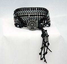 Unique Black Leather Cuff Wrapped Bracelet, Black Onyx, Grey Hematite Beads, Steampunk Bracelet, Goth Bracelet, Clock Button Bracelet