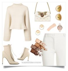 """""""Sergio Rossi"""" by rhiannonjadebrown ❤ liked on Polyvore featuring Sergio Rossi, Khaite, Gucci, Joseph, Oliver Peoples, Madewell, Maybelline, La Mer and Olivia Burton"""