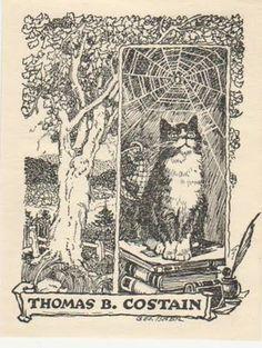 Thomas B Costain bookplate cat