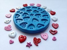 Heart Buttons Valentines Set Silicone Mould