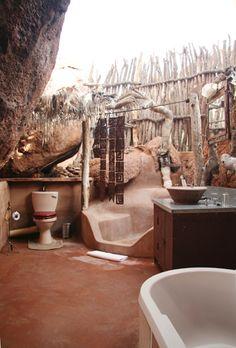 "Open Air-Bathroom in the Lodge ""Mowani"" in Damaraland/Namibia"