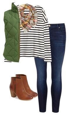 #fall #outfits / Stripes + Green Quilted Vest