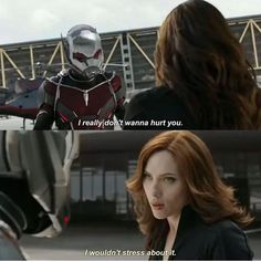 Ant-Man & Black Widow - lol, Scott, apparently no one told you who she is.