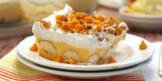 Pumpkin Pie Dessert Lasagna is a fun twist on a Thanksgiving classic! Easy, delicious, and full of pumpkin spice! - The Cookie Rookie Köstliche Desserts, Delicious Desserts, Dessert Recipes, Layered Desserts, Dinner Recipes, Pumpkin Dessert, Pie Dessert, Pumpkin Lasagna, Thanksgiving Desserts Easy