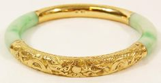Jadeite and gold bangle bracelet, Chinese, 1800's