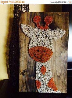 ON SALE String Art - String Art Giraffe - Giraffe Nursery Safari Art - Unique Gift Idea - NailedItDesign - Custom Colors Available - Giraffe