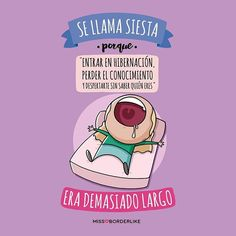 "#229 Se llama siesta porque ""entrar en hibernación, perder el conocimiento y despertarte sin saber quién eres"", era demasiado largo. Best Quotes, Funny Quotes, Life Quotes, Jw Humor, Little Things Quotes, Mr Wonderful, Funny Times, Cute Comics, Grumpy Cat"