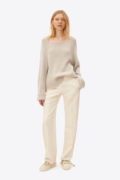 A Scottish cashmere cotton pullover sweater with a fluid drape and wide raglan sleeves.