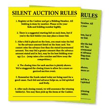 free printable silent auction templates - Google Search