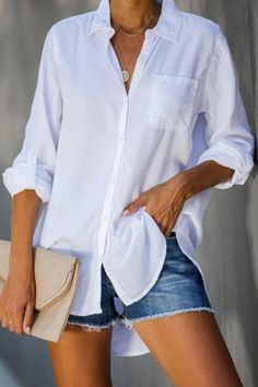Solid Casual Buttons Down Side Pocket Blouse Casual Tops, Casual Shirts, Casual Outfits, Office Outfits, Fall Outfits, Look Fashion, Fashion Outfits, Womens Fashion, Fashion Blouses