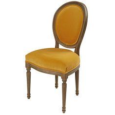 Ochre velvet and solid oak chair
