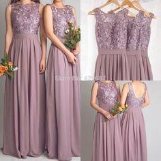 Custom Made A Line Stunning 2015 Lace Floor Length Sleeveless Chiffon Maid Of Honor Long Purple Bridesmaid Dresses UM0052-in Bridesmaid Dresses from Weddings & Events on Aliexpress.com | Alibaba Group
