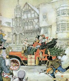 By Dutch Illustrator Anton Pieck ---entitled 'Breezing By' Christmas Pictures, Christmas Art, Vintage Christmas, Christmas Scenery, Christmas Clipart, Illustration Arte, Christmas Illustration, Party Vintage, Anton Pieck