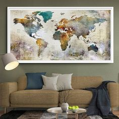 Educational and inspirational map wall art adds elegance and large watercolor world map print world map wall art detailed print push pin world map with countries and cities l117 gumiabroncs Gallery